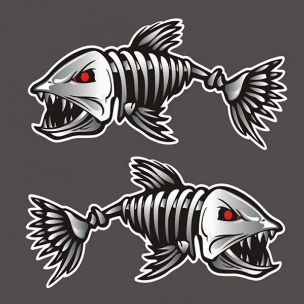 1 Pair Mad Fish Skeleton Skull Fishing Monster Car Window Pet Decal Sticker Funny Car Stickers