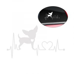 Fashion Waterproof Heartbeat Lifeline Monitor Chihuahua Dog Decal Vinyl Car Decorative Sticker